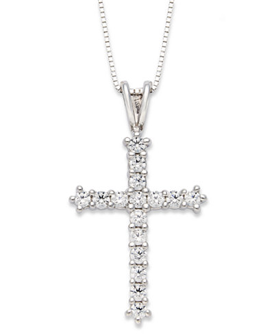 Diamond cross pendant necklace in 14k white gold 12 ct tw diamond cross pendant necklace in 14k white gold 12 ct tw aloadofball Choice Image