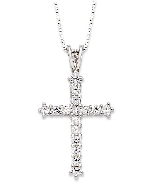Macys diamond cross pendant necklace in 14k white gold 12 ct main image aloadofball Choice Image