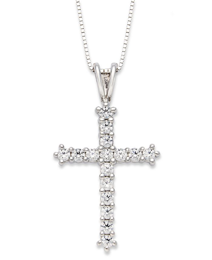 Macy's - Diamond Cross Pendant Necklace in 14k White Gold (1/2 ct. t.w.)