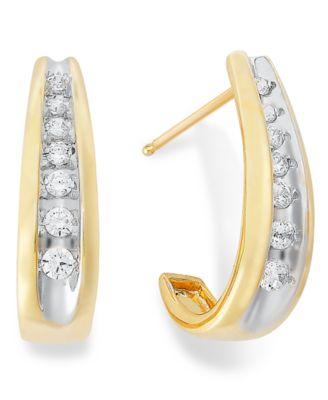 Channel-Set Diamond J Hoop Earrings in 14k Gold (1/4 ct. t.w.)