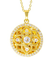 Elsie White Topaz (2-3/4) Photo Locket Necklace in 14k Yellow Gold over Sterling Silver (Also Available in 14k Rose Gold over Sterling Silver)