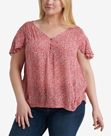 Lucky Brand Plus Size Printed Flutter-Sleeve Top