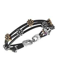 Bracelet, Two Tone Flower Woven Leather Bracelet