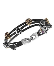 Lucky Brand Bracelet, Two Tone Flower Woven Leather Bracelet