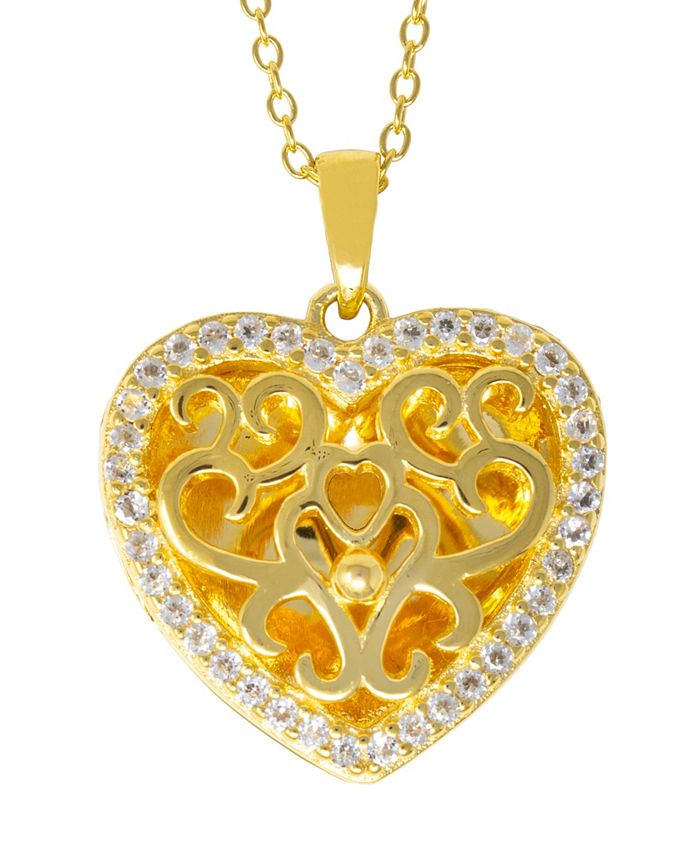 With You Lockets - White Topaz (1/5 ct. t.w.) Photo Locket Necklace in 14k Yellow Gold over Sterling Silver (Also Available in 14k Rose Gold over Sterling Silver)