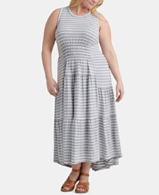 Lucky Brand Plus Size Striped Ruched Maxi Dress
