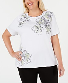 Alfred Dunner Plus Size Cayman Islands Embellished Top