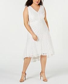 Plus Size Allover Lace Midi Dress