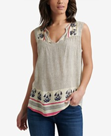 Lucky Brand Sleeveless Border-Print Top