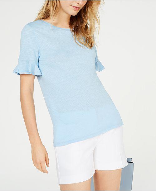 Michael Kors Textured Ruffle-Sleeve T-Shirt, Regular & Petite Sizes