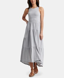 Lucky Brand Striped Ruched Maxi Dress