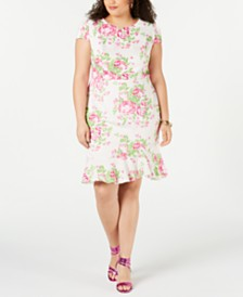 Betsey Johnson Trendy Plus Size Floral Ruffle-Hem Dress