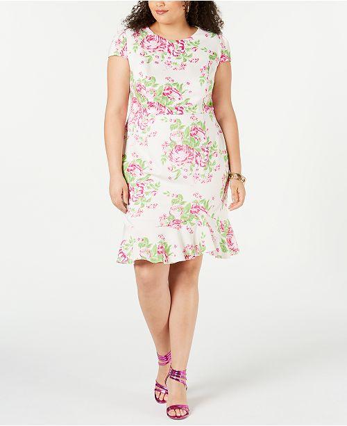 Betsey Johnson Trendy Plus Size Floral Ruffle-Hem Dress