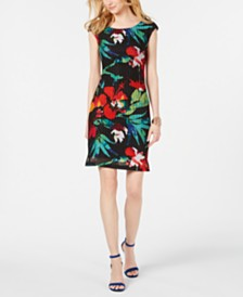 Connected Floral Sheath Dress