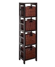 Leo 5Pc Storage Shelf with Basket Set, Shelf with 4 Small Baskets