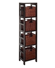 Winsome Leo 5Pc Storage Shelf with Basket Set, Shelf with 4 Small Baskets