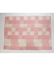 Cotton Candy Kantha Throw Blanket