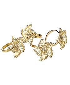 Set of 4 Gold Napkin Rings-Leaf Design