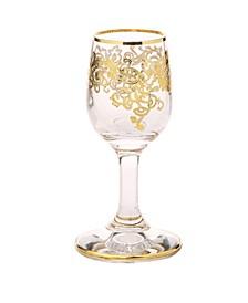 Liqueur Glasses with 24K Rich Gold Design, Set of 6