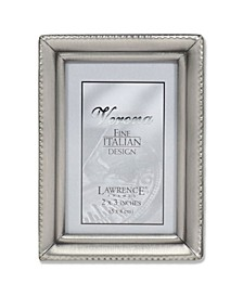 "Antique Pewter Picture Frame - Beaded Edge Design - 2"" x 3"""