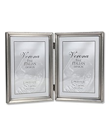 "Antique Pewter Hinged Double Picture Frame - Bead Border Design - 5"" x 7"""