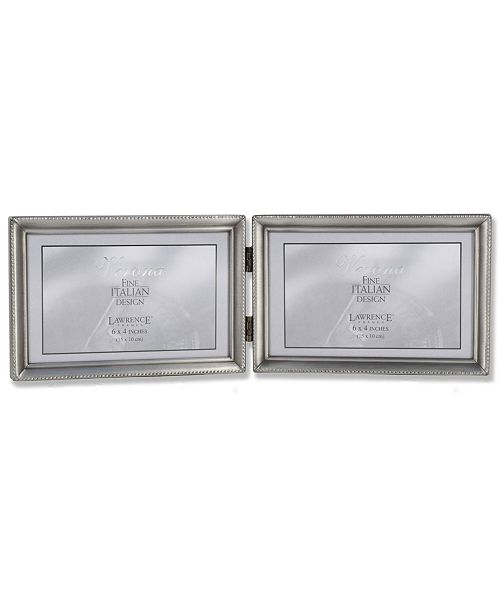 """Lawrence Frames Antique Pewter Hinged Double Horizontal Picture Frame - Bead Border Design - 4"""" x 6"""""""