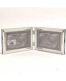 "Lawrence Frames Hinged Double Metal Picture Frame Silver-Plate with Delicate Beading - 4"" x 6"""