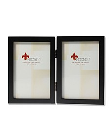 "Hinged Double Black Wood Picture Frame - Gallery Collection - 4"" x 6"""