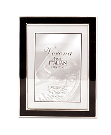 "Silver Plated Metal with Black Enamel Picture Frame - 5"" x 7"""