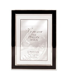 """Lawrence Frames Silver Plated Metal with Black Enamel Picture Frame - 5"""" x 7"""""""