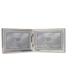 "Lawrence Frames Polished Silver Plate Hinged Double Horizontal - Bead Border Design - 5"" x 7"""