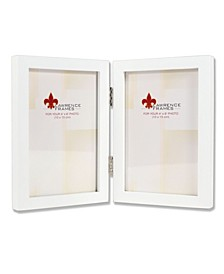 "Hinged Double White Wood Picture Frame - Gallery Collection - 4"" x 6"""