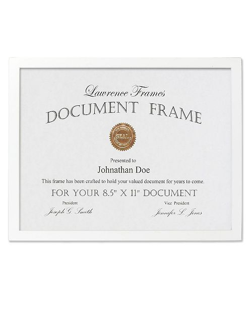 """Lawrence Frames White Wood Certificate Picture Frame - Gallery Collection - 8.5"""" x 11"""""""
