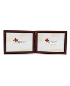 """755975D Espresso Wood Hinged Double Picture Frame - 7"""" x 5 """""""