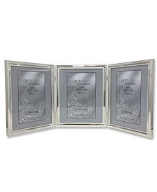 """510780T Silver Plated Double Bead Hinged Triple Picture Frame - 8"""" x 10"""""""