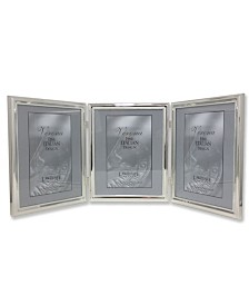 """Lawrence Frames 510780T Silver Plated Double Bead Hinged Triple Picture Frame - 8"""" x 10"""""""