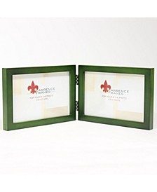 "Hinged Double Green Wood Picture Frame - Gallery Collection - 4"" x 6"""