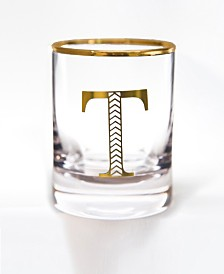 Qualia Glass Monogram Rim and Letter T Double Old Fashioned Glasses, Set Of 4