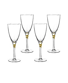 Qualia Glass Helix Gold Wine Glasses, Set Of 4