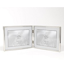 "Hinged Double Simply Silver Metal Picture Frame - 7"" x 5 """