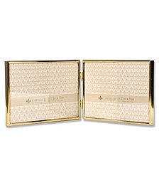 "Hinged Double Simply Gold Metal Picture Frame - 7"" x 5 """