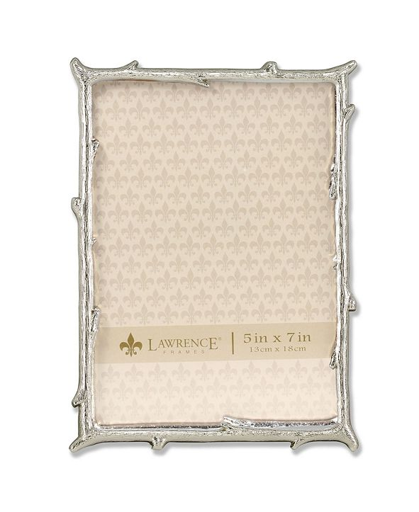 """Lawrence Frames Silver Metal Picture Frame with Natural Branch Design - 5"""" x 7"""""""