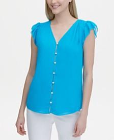 Calvin Klein Button-Front Flutter-Sleeve Top