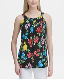 Calvin Klein Sleeveless Printed Halter Top