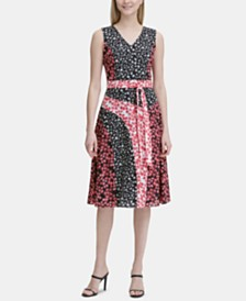 Calvin Klein Sleeveless Printed A-Line Dress