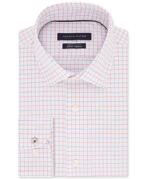 51e54ac5a ... Tommy Hilfiger Men's Slim-Fit TH Flex Non-Iron Supima® Stretch  Check Dress ...