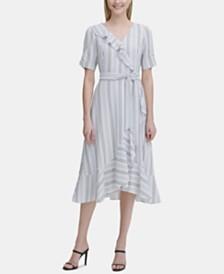 Calvin Klein Printed Ruffled Faux-Wrap Dress