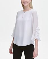 b28048109599a9 Calvin Klein Ruffle-Trim Bell-Sleeve Top