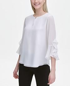 Calvin Klein Ruffle-Trim Bell-Sleeve Top