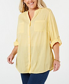 Plus Size Eyelet-Trim Textured Blouse, Created for Macy's